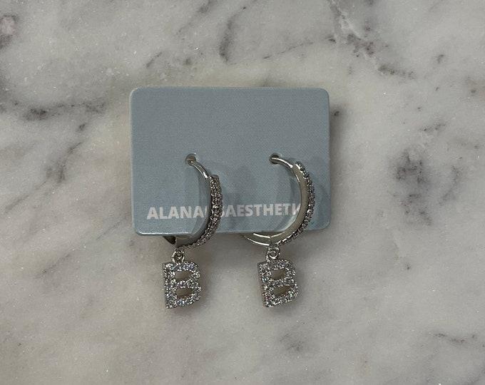 Sterling Silver B Initial Huggie Earrings