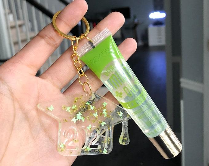 2021 Graduation Cap Lip Gloss Keychains