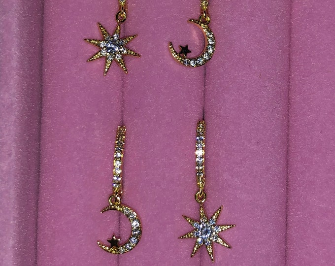 Gold Moon & Star Sterling Silver Huggie Earrings