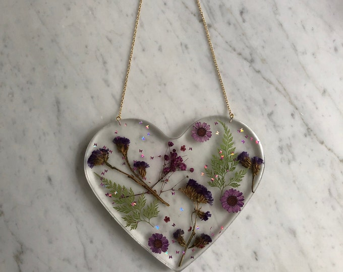 Dried Purple Floral Wall Hanging (Real Flowers & Glitter Butterflies)