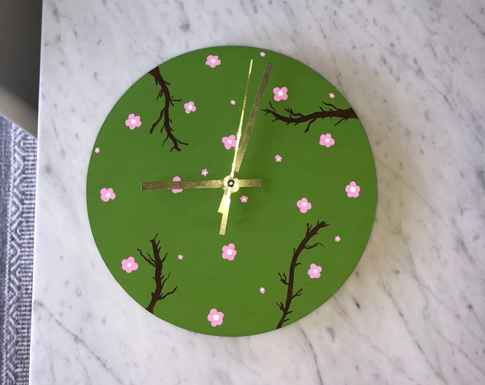 Flower Painted Wooden Clock