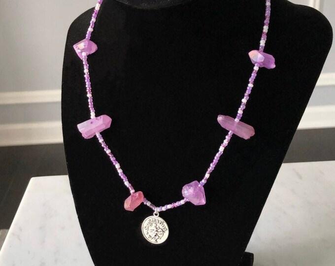 Purple Sagittarius Zodiac Necklace Beaded with Quartz