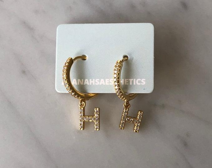 Sterling Silver H Initial Huggie Earrings