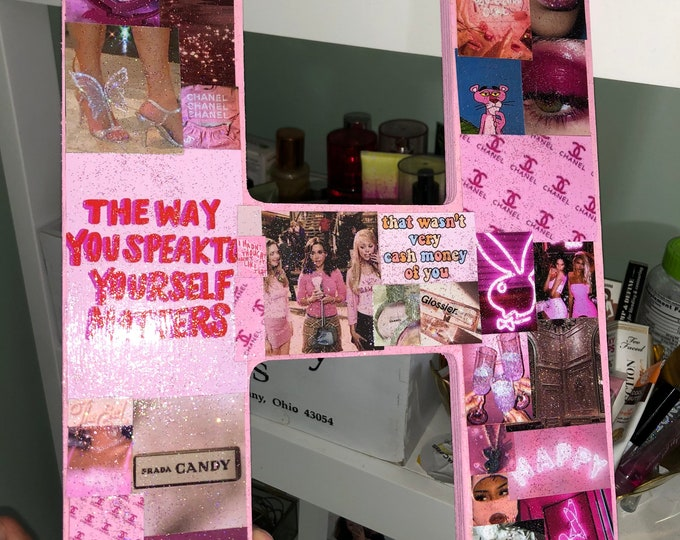 """Giant Pink Aesthetic """"H"""" With Glitter & Gloss!"""