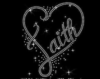 Faith Heart Rhinestone template instant download file, svg, plt, eps, png
