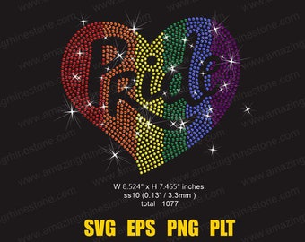 Rainbow Pride Heart rhinestone template instant download file svg eps png, Pride shirt
