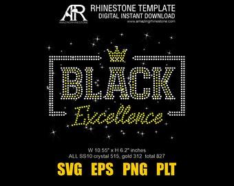 Black Excellence Rhinestone Bling t-shirt digital instant download file svg eps png, Cut file, Dot Art print