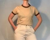 Vintage 70s brown two-tone t-shirt size M L
