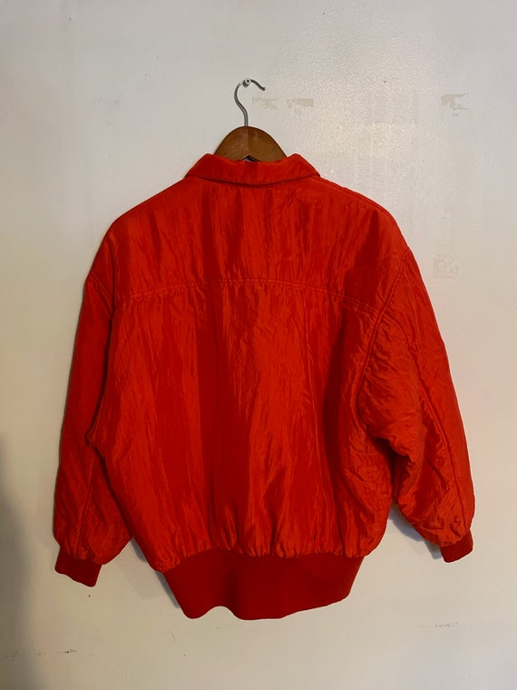 Vintage 80s 100% red silk bomber jacket warm and … - image 3