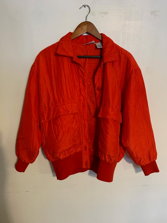 Vintage 80s 100% red silk bomber jacket warm and … - image 2
