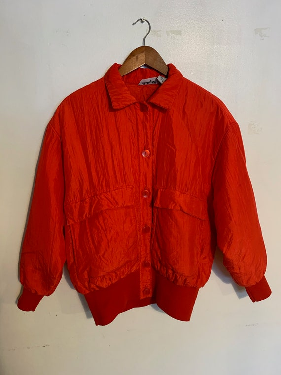 Vintage 80s 100% red silk bomber jacket warm and l