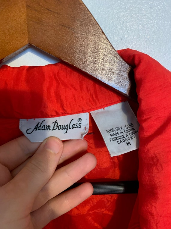 Vintage 80s 100% red silk bomber jacket warm and … - image 4