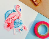 Sticker - Watercolor Flamingo Die Cut Sticker, Planner Sticker, Stationary, Kawaii Sticker
