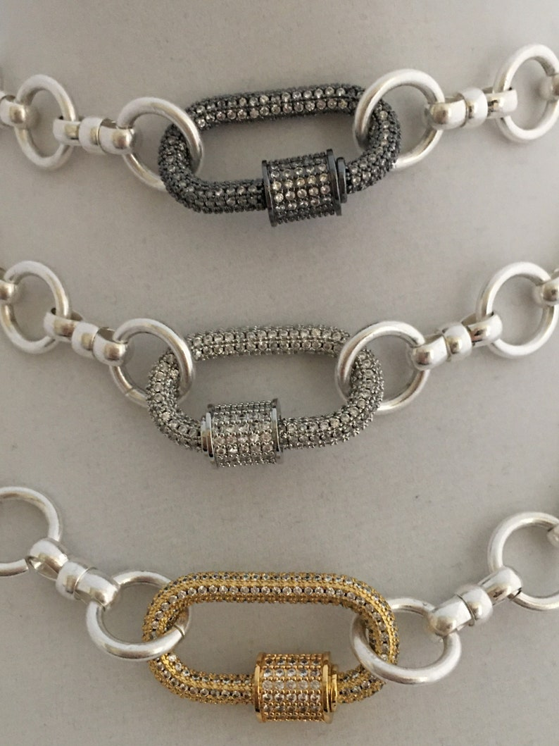Carabiner Necklace Pave Carabiner Necklace-Screw Lock Clasp-3 Choices Cable Chain Necklace-Brass-Satin Silver-Mixed Cable Chain Necklace
