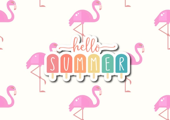 "Hello Summer Popsicle | Die-Cut Window, Waterbottle, Skateboard, Car, Wall Decal, Laptop Vinyl Sticker - 3"" or 5"""