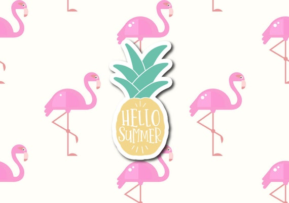 "Hello Summer Pineapple | Die-Cut Window, Waterbottle, Skateboard, Car, Wall Decal, Laptop Vinyl Sticker - 3"" or 5"""
