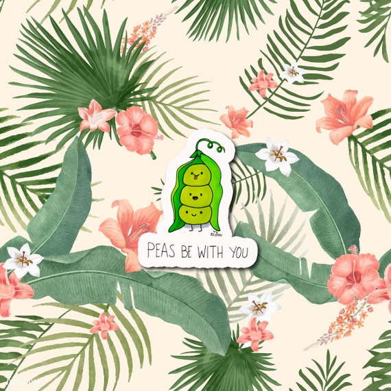 Peas Be With You  | Die-Cut Window, Water bottle, Skateboard, Car, Wall Decal, Laptop Vinyl Sticker - 3""