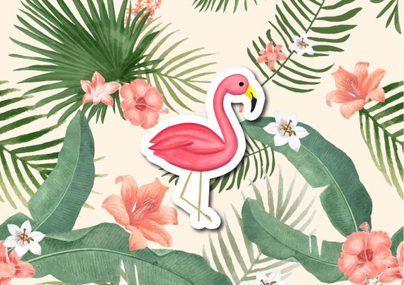 "Flamingo Sticker | Die-Cut Window, Water bottle, Skateboard, Car, Wall Decal, Laptop Vinyl Sticker - 3"" & 5"""