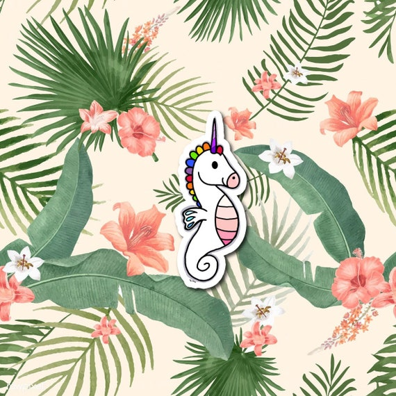 Rainbow Seahorse | Die-Cut Window, Water bottle, Skateboard, Car, Wall Decal, Laptop Vinyl Sticker - 3""