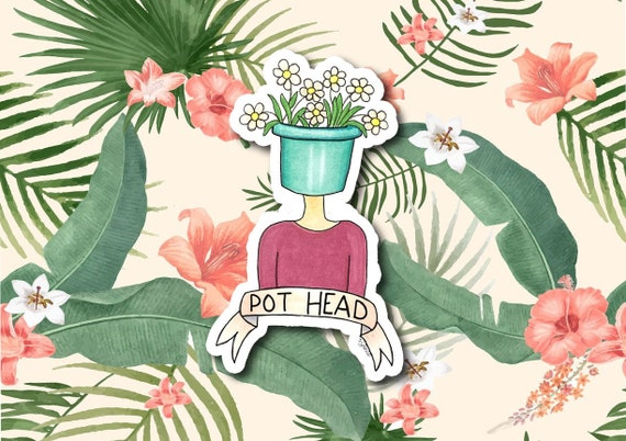"Pot Head | Die-Cut Window, Waterbottle, Skateboard, Car, Wall Decal, Laptop Vinyl Sticker - 3"" or 5"""