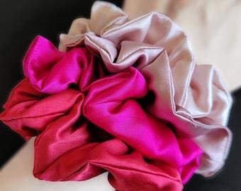 Mulberry Silk Scrunchies, hair ties - 2 sizes _100% Pure Silk