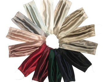 Set of 3 Double layered or 2 Filter Pocket (three layers) Silk Satin Face Masks