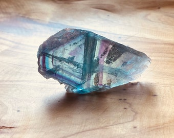 healing crystal, rainbow fluorite fluorite slab boho home decor self standing crystal FLUORITE SLAB