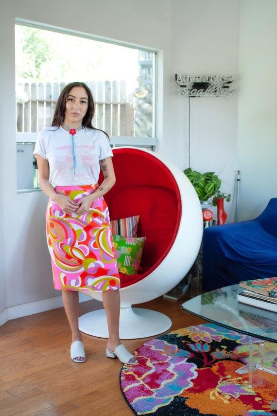 Vintage 60's Vibrant Printed Skirt - Size XXS-S