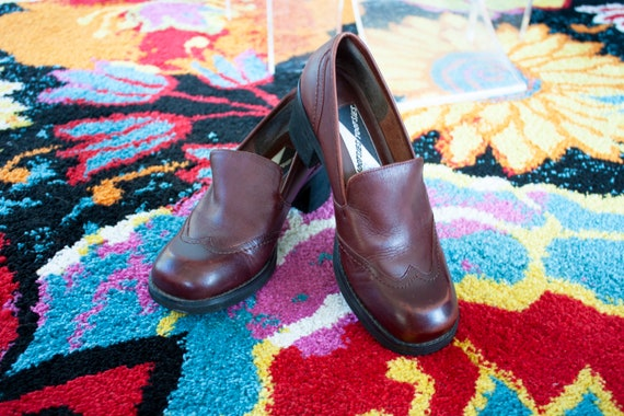 Vintage Mahogany Wingtip Loafers - Size 6