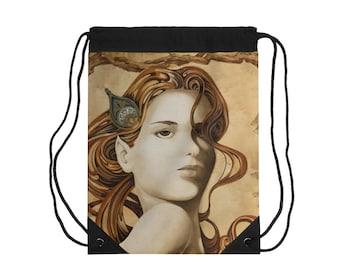 14.5x14x3 Inside pocket Quarter Latin Cover Illustration Hobo Sling Tote Mucha Magnetic Closure Crossbody Strap