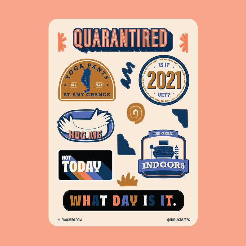 Quarantired Sticker Sheet   Charity Edition  Typography image 0