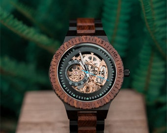 Engraved Watch | Automatic Watch | Mechanical Watch | Wood Watch | Engraved Wood Watch for Men |Steampunk Watch |Engraved Wooden Watch