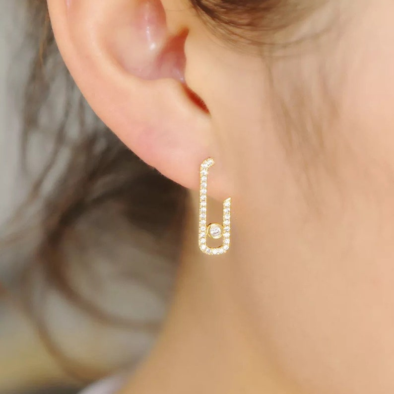 Earrings move messika style silver and gold