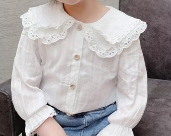 Delicate blouse for girls lace and cotton collar Claudine natural material ideal for birthday, communion, wedding etc.