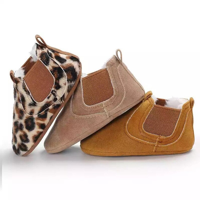 Suede ankle boots baby leopard shoes boots unisex child boy image 0