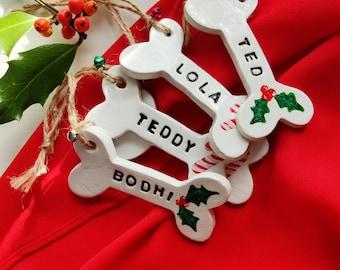 Personalised Dog Bone Christmas Tree decoration, clay bone, pet