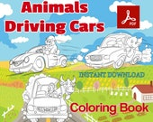 PDF coloring book - Animals Driving Cars . Coloring, Printable. digital coloring book . INSTANT DOWNLOAD :-)