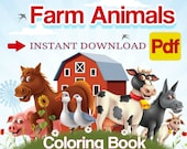 PDF coloring book - Farm Animals.  Coloring, Printable. digital coloring book . INSTANT DOWNLOAD :-)