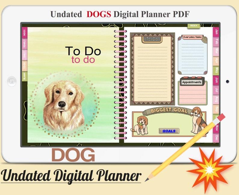 DOGS Digital Planner Vol.1  Undated Digital Planner Goodnotes image 0
