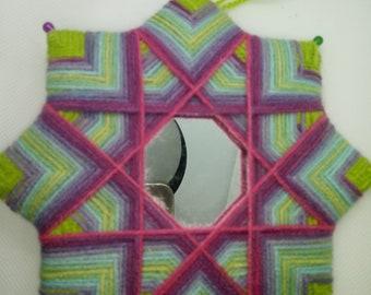 Mandala mirror, wool decoration, wall decor.