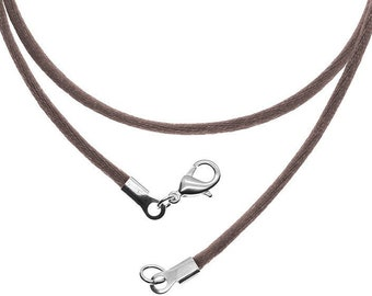 1 piece Brown Leather Necklace Cord with Lobster Clasp Zardenia 17 inches Brown Necklace Brown Cord Diy Necklace
