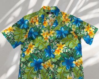 Tropical Hibiscus Flower Print Hawaiian Shirts | Pink and Blue
