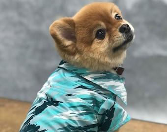 Dog's Aloha Shirts | Hawaiian Surfer Camouflage | Blue, Green