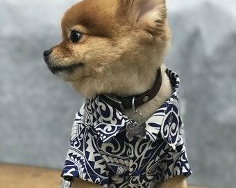 Cute Dog's Hawaiian Shirt in Honu Turtle Tapa Print   Polynesian Print   Blue