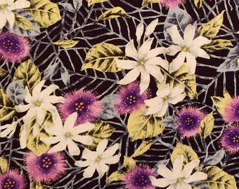 Misty Ohia Lehua and Tiare Hawaiian 100% Cotton Fabric-Purple PC045PU