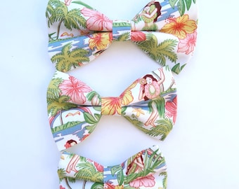 Hula Girl Print Dog or Cat Bow Tie   S,M, L