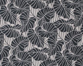 Hawaiian Leaf Print Stretch Jersey Knit Fabric   Taupe Brown