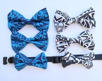 Blue Tapa Print Dog or Cat Bow Tie   S,M, L