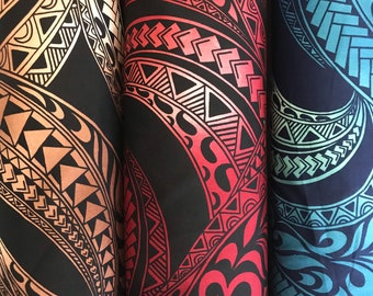 Ombre Polynesian Tribal Tapa Print Cotton- brown/red/blue- C226BRB