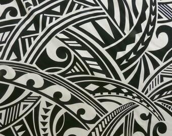 Polynesian Tapa Hawaiian Tribal Print Fabric - Rayon   Beige Tan